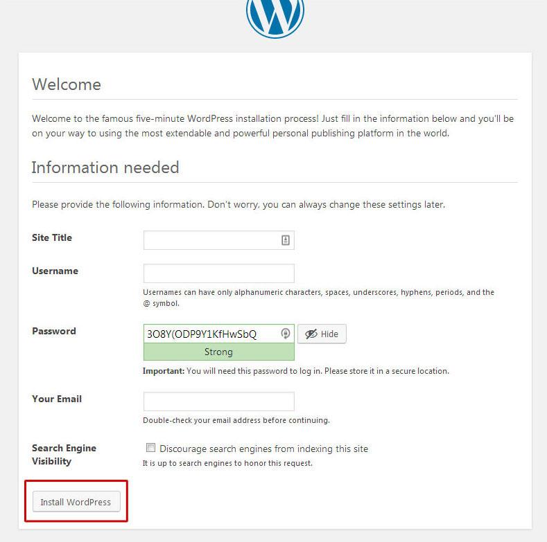 wordpress-install-details