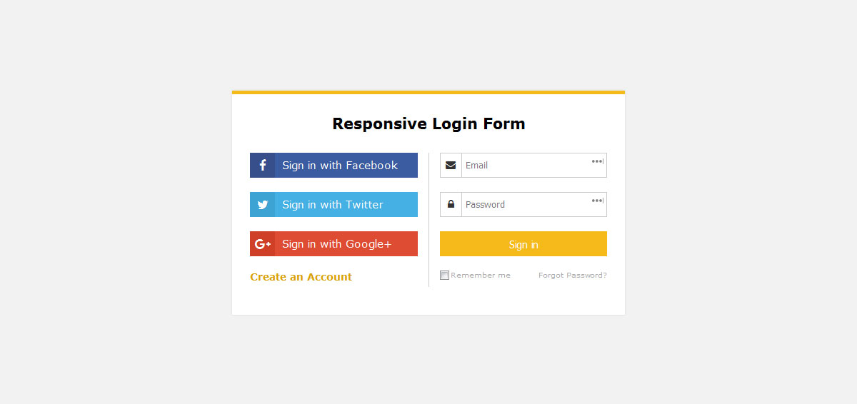 Responsive Login Form Template Free Dwonload
